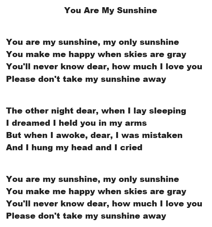 Fox Valley Memory Project On A Positive Note Video And Lyrics For You Are My Sunshine